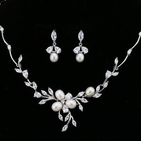 Elegant Floral Pearl & Crystal Bridal Jewellery Set, Cubic Zirconia Necklace and Earrings Set