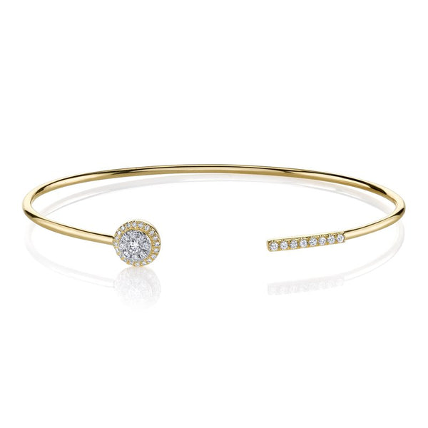 Mars Jewelry 14K Yellow Gold Open Cuff Bracelet w/ Contrasting Diamonds 26811