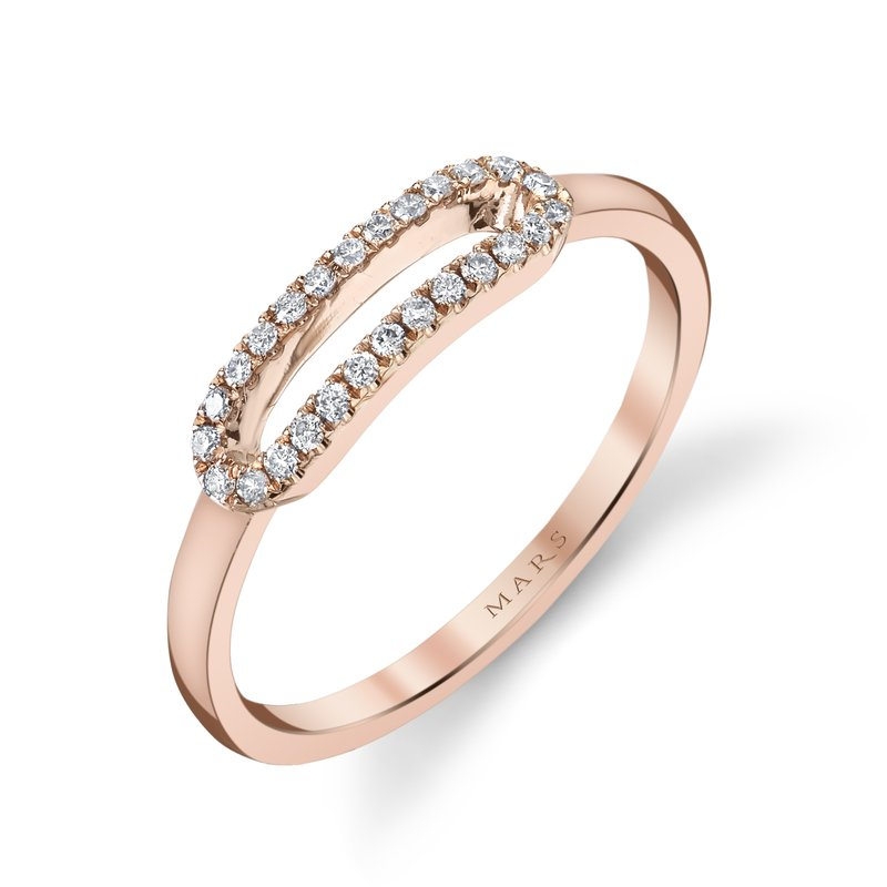 Mars Jewelry 14K Rose Gold Fashion Ring w/ Pave Diamonds & Brushed Gold 26831