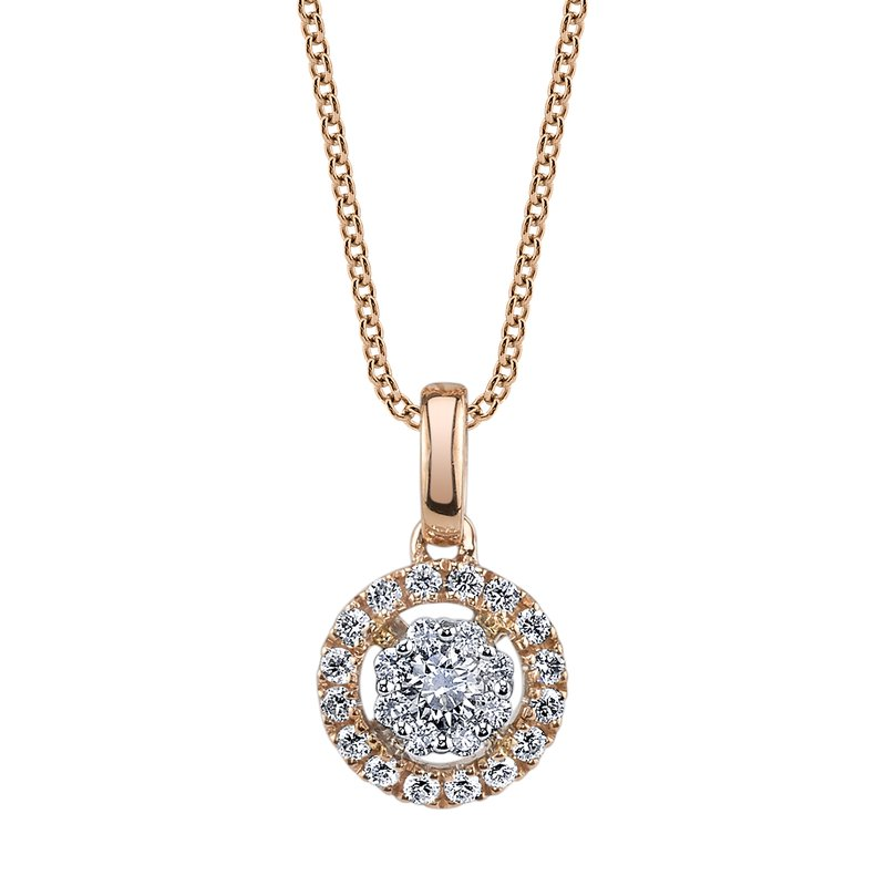 Mars Jewelry 14K Rose Gold Fashion Necklace w/ Two-Tone Diamond Cluster Pendant 26570