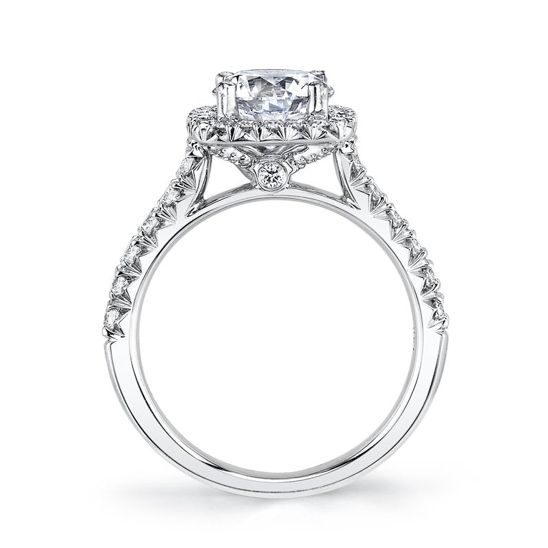 Mars Bridal Jewelry 14K White Gold Engagement Ring w/ Diamond Single Row, Peek-A-Boo Diamond Accent Stones & Cushion Halo 25574