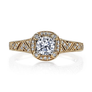 Mars Bridal Jewelry 14K Yellow Gold Engagement Ring w/ Milgrain, Filigree Detailing & Round Halo 25850