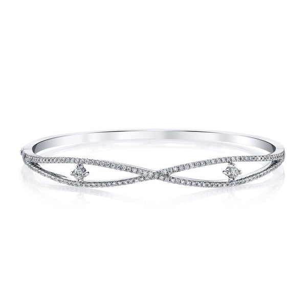 Mars Jewelry 14K White Gold Bangle Bracelet w/ Diamonds 26724