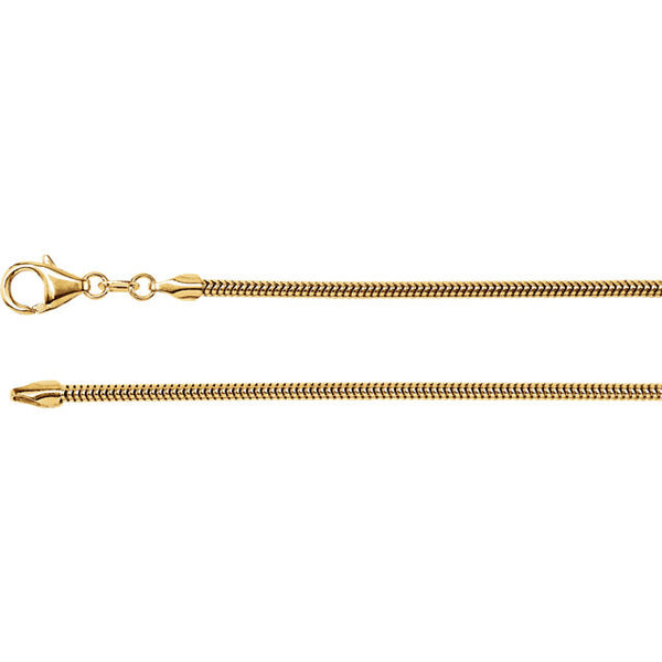 14K Gold 2mm Solid Round Snake Chain with Lobster Closure