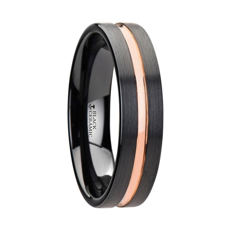 Thorsten Venice Black Ceramic Wedding Band w/ Rose Gold Groove (4-10mm) W2951-TCJC