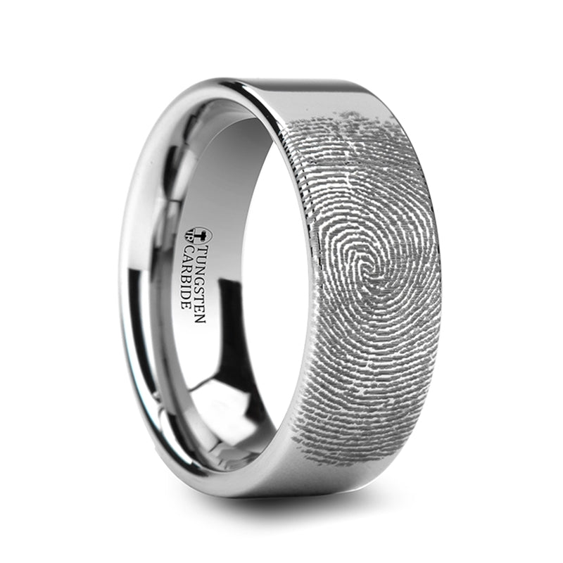 Thorsten Fingerprint Engraved Flat Pipe Cut Tungsten Ring Polished (4-8mm) F861-FBBT