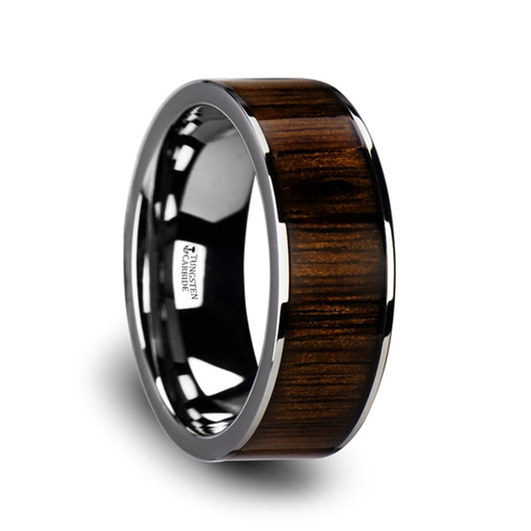 Thorsten Bokken Flat Tungsten Wedding Band w/ Black Walnut Wood Inlay & Polished Edges(6-10mm)W3755-TCBW