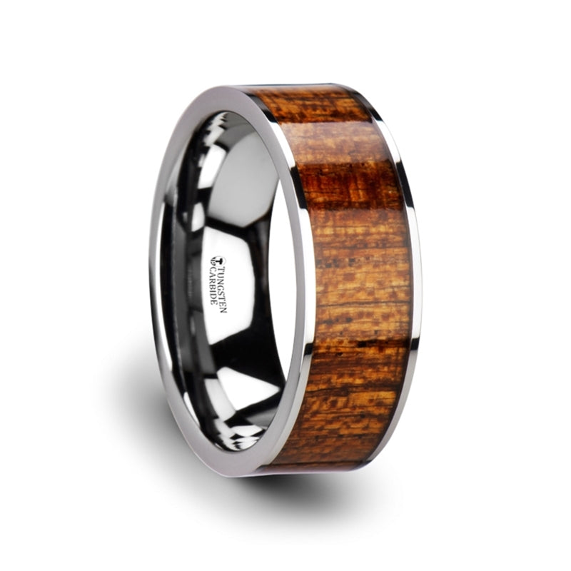 Thorsten Bolo Flat Tungsten Carbide Band w/ Exotic Mahogany Hard Wood Inlay & Polished Edges(8mm)W3757-MHWI