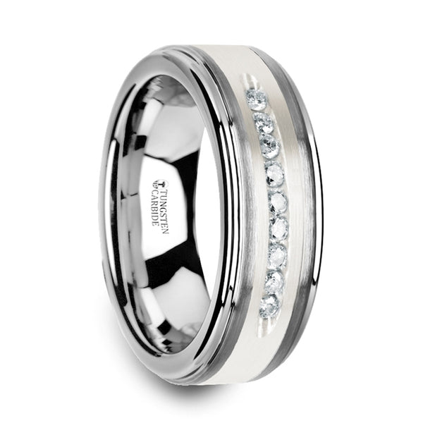 Thorsten Harper Tungsten Wedding Band w/ Raised Center & Brushed Silver Inlay & 9 White Diamonds(8mm)W3924-TCSD