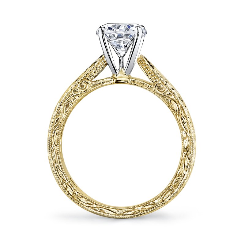 Mars Bridal Jewelry 14K Yellow Gold Engagement Ring w/ Detailed, Hand Engraving & Embellished Side Profile 13256HE