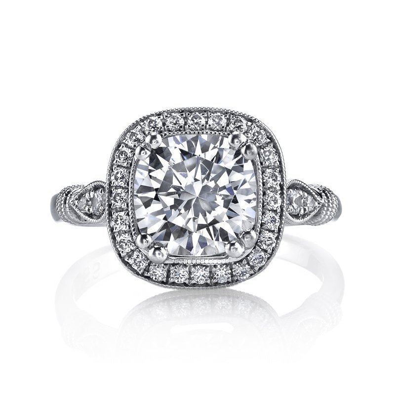 Mars Bridal Jewelry 14K White Gold Engagement Ring w/ Embellished Profile Design & Cushion Halo 14664