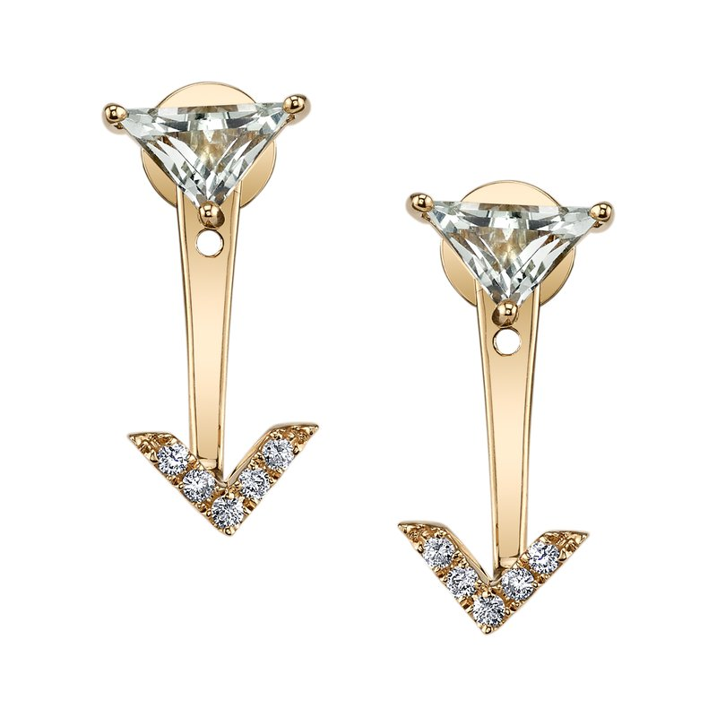 Mars Jewelry 14K Yellow Gold Peek-a-Boo Stud Earrings w/ Diamonds & Mint green Amethyst 26915