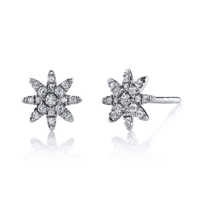 Mars Jewelry 14K White Gold Diamond Starburst Stud Earrings 26679