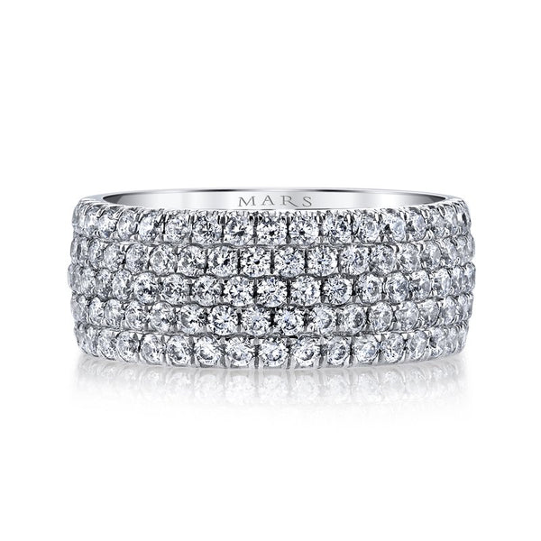 Mars Jewelry 14K White Gold Diamond Stackable Band BE-51