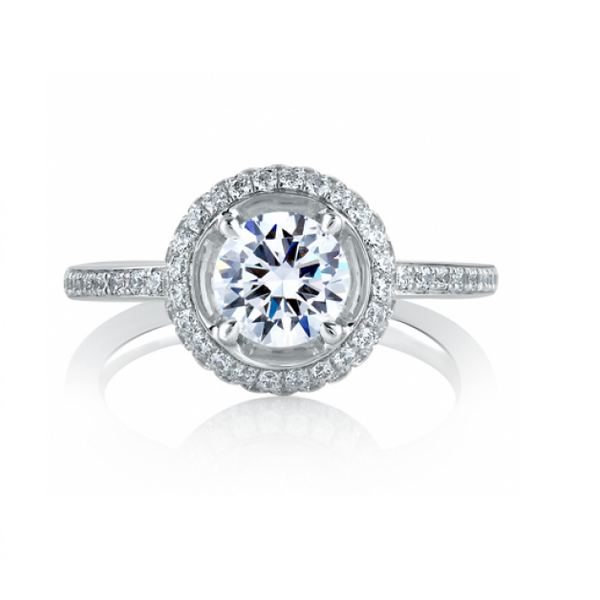 A.Jaffe Classic Double Halo on Disc Shank Engagement Ring MES325/136