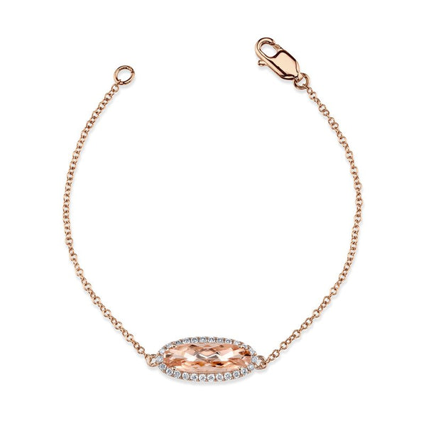 Mars Jewelry 14K Rose Gold Fashion Bracelet w/ Diamonds & Blush Pink Morganite 26911