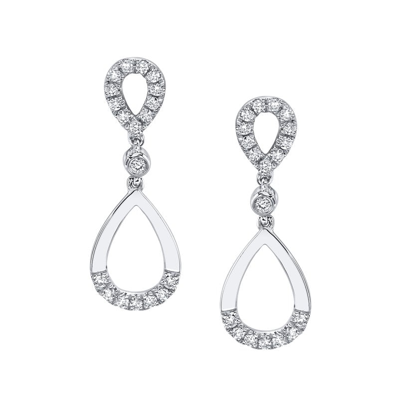 Mars Jewelry 14K White Gold Drop Earrings w/ Diamond Accents 26872