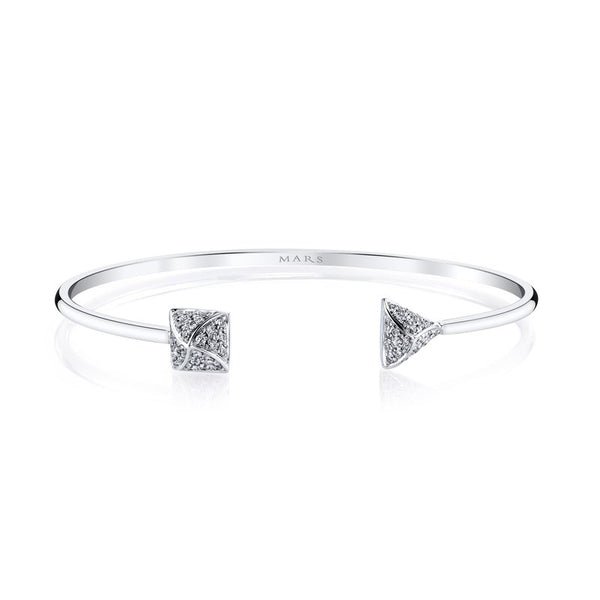 Mars Jewelry 14K White Gold Cuff Bracelet w/ Geometric Shaped Diamond Accents 26681