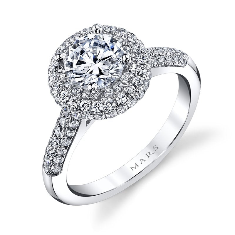 Mars Bridal Jewelry 14K White Gold Engagement Ring w/ Domed Micro Pave Halo & Petal/Floral Motif 25132