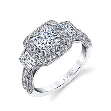 Mars Bridal Jewelry 14K White Gold Engagement Ring w/ Three Stone Setting, Trapezoid Side Diamonds, Filigree & Milgrain Detailing 25229