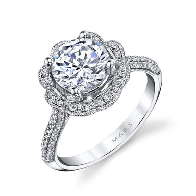 Mars Bridal Jewelry 14K White Gold Engagement Ring w/ Floral Motif, Petal Halo & Milgrain Edging 25255