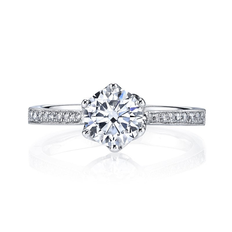 Mars Bridal Jewelry 14K White Gold Engagement Ring w/ Single Row Diamond Shank & Floral/Petal Crown 25283