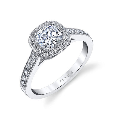 Mars Bridal Jewelry 14K White Gold Engagement Ring w/ Filigree, Milgrain Detailing & Bezel Set Center Stone 25400