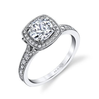 Mars Bridal Jewelry 14K White Gold Engagement Ring w/ Embellished Profile Design & Cushion Halo 25530