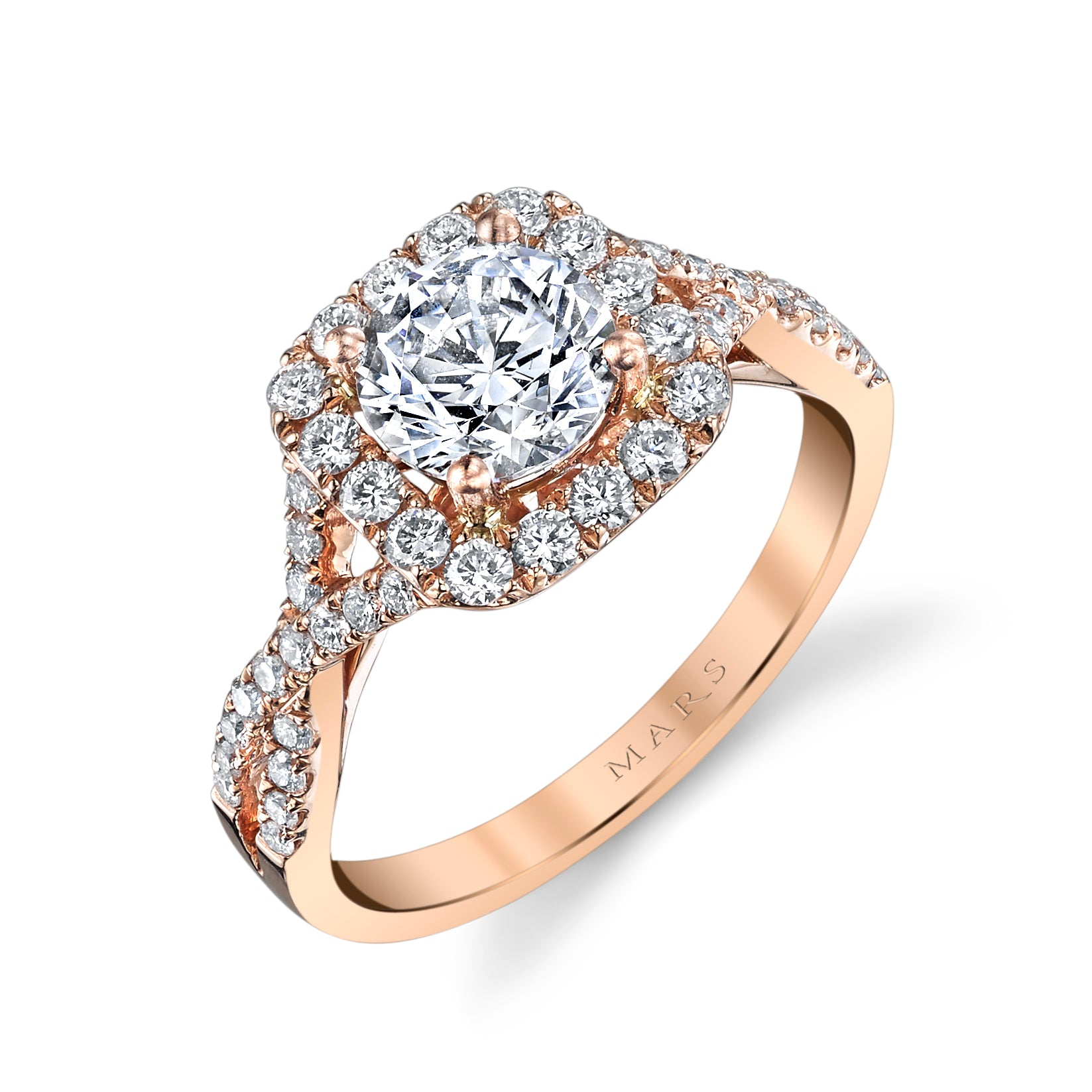 Mars Bridal Jewelry 14K Rose Gold Engagement Ring w/ Interwoven Infinity Diamond Shank & Cushion Diamond Halo 25560