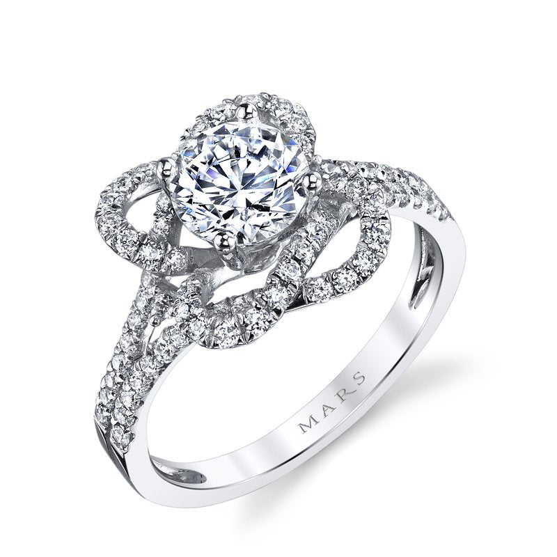 Mars Bridal Jewelry 14K White Gold Engagement Ring w/ Interwoven Infinity Halo & Split Shank 25668