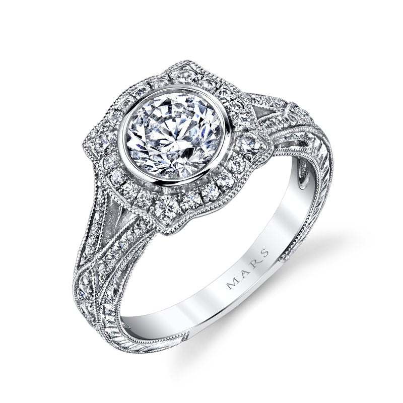 Mars Bridal Jewelry 14K White Gold Engagement Ring w/ Bezel-Set Center Stone, Sapphire Side Stones, & Hand-Engraving 25939