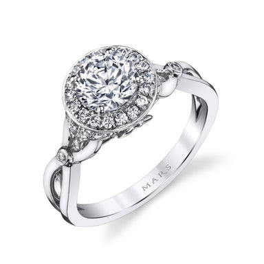 Mars Bridal Jewelry 14K White Gold Engagement Ring w/ Round Halo & Split High Polish Shank 25950