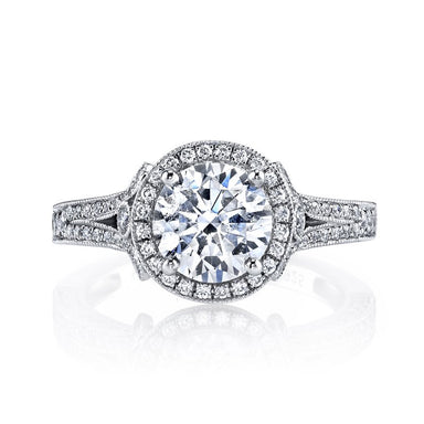 Mars Bridal Jewelry 14K White Gold Engagement Ring w/ Hand Engraving, Milgrain Detailing, & Round Halo 25964