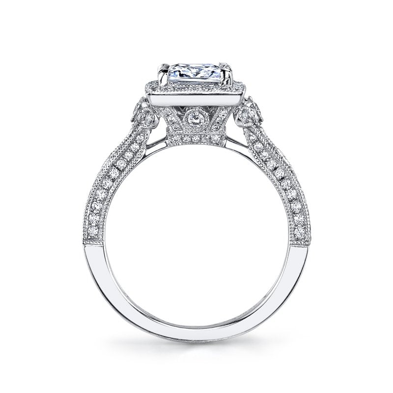 Mars Bridal Jewelry 14K White Gold Engagement Ring w/ Hand Engraving, Milgrain Detailing, Embellished Side Profile & Princess Halo 25965