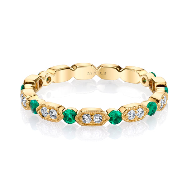 Mars Jewelry 14K Yellow Gold Diamond Stackable Band w/ Emerald Accents 26182YGEM
