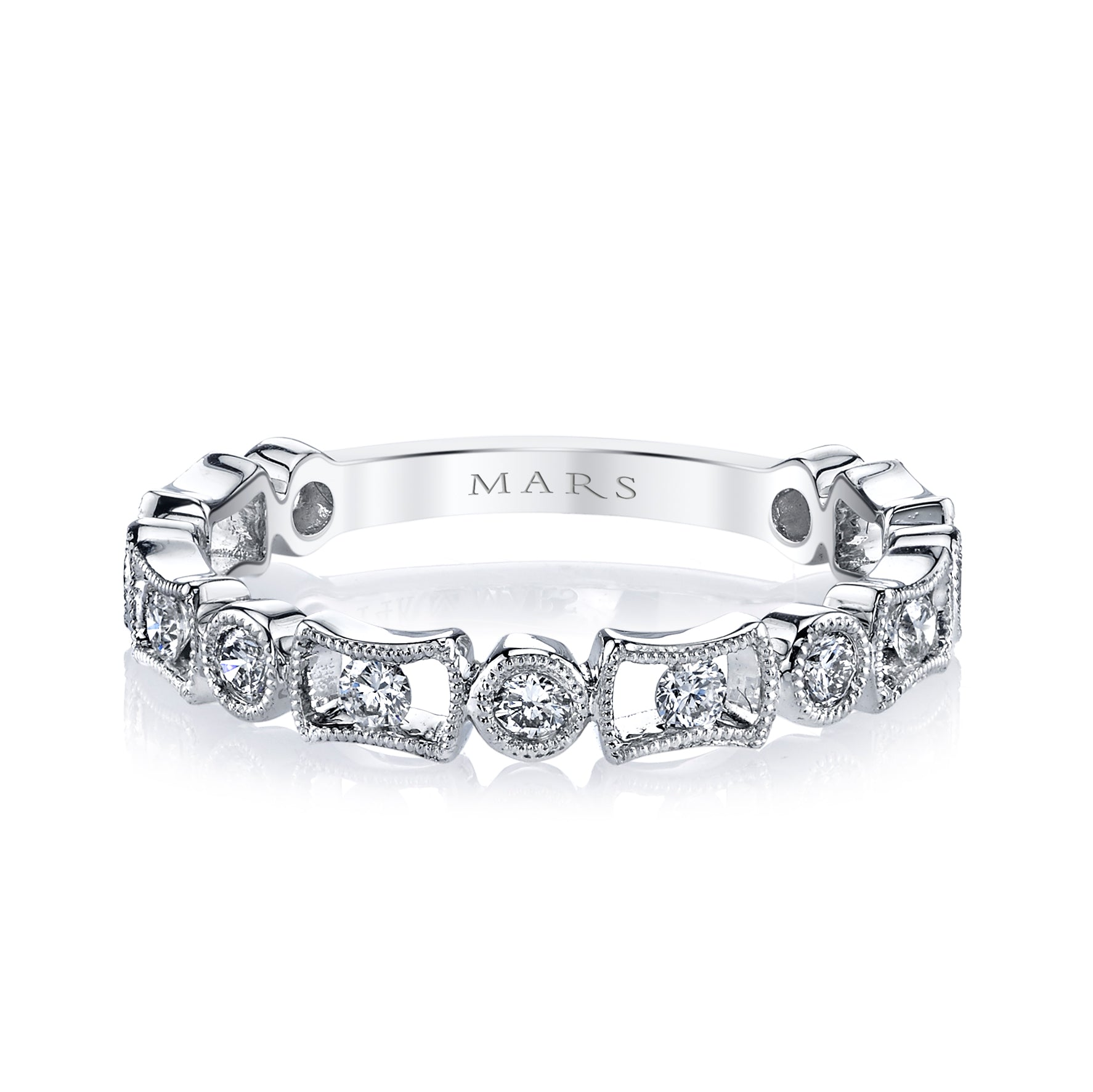 Mars Jewelry 14K White Gold Stackable Band w/ Bezel Set Diamonds 26211