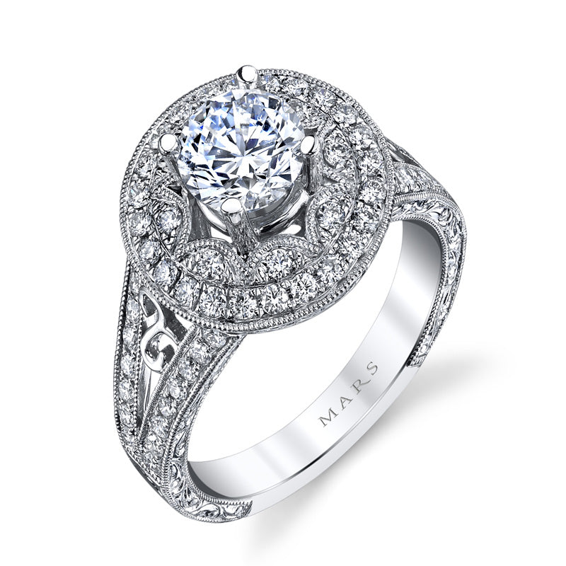 Mars Jewelry 14K White Gold Fashion Ring w/ Filigree, Milgrain Detailing, & Embellished Side Profile 26458