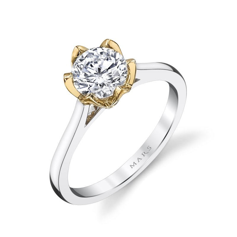 Mars Bridal Jewelry Two-Tone Engagement Ring w/ Floral Motif, Petal Crown & High Polish Shank 26515