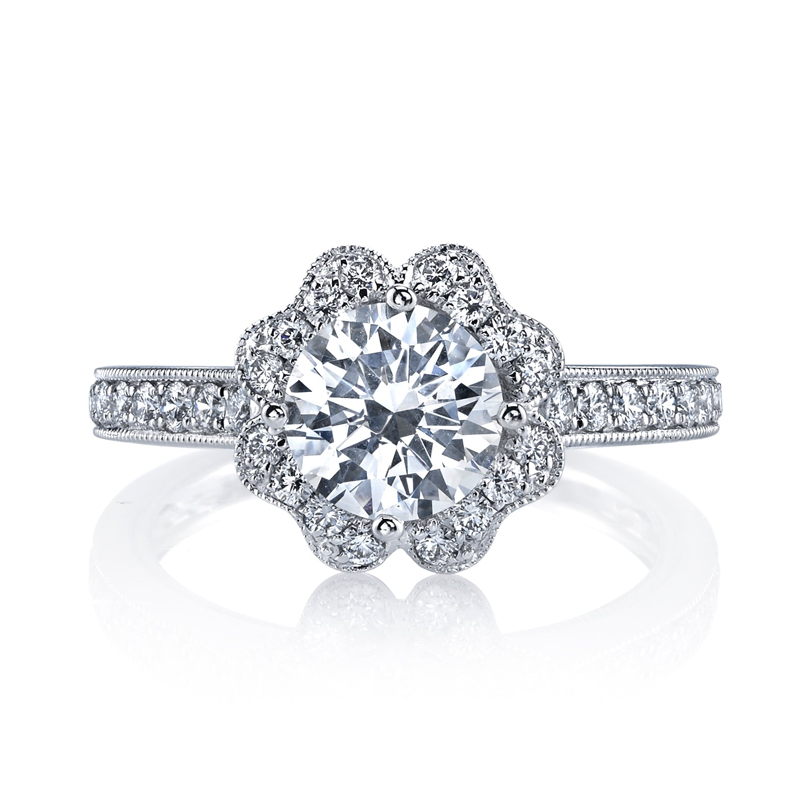 Mars Bridal Jewelry 14K White Gold Engagement Ring w/ Diamond Shank & Diamond Petal Accents 26549