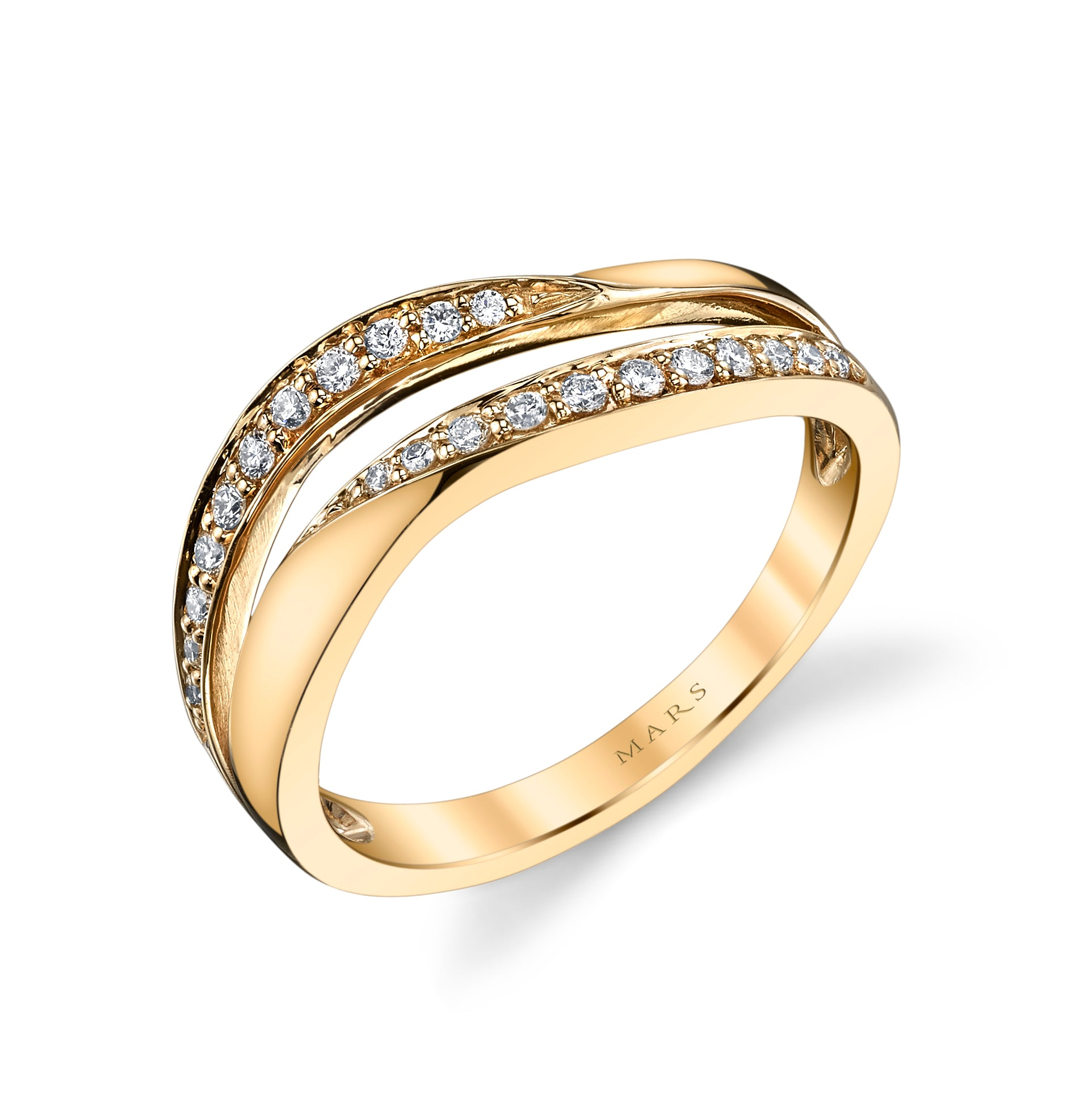 Mars Jewelry 14K Yellow Gold Fashion Ring w/ Contrasting Diamonds 26576