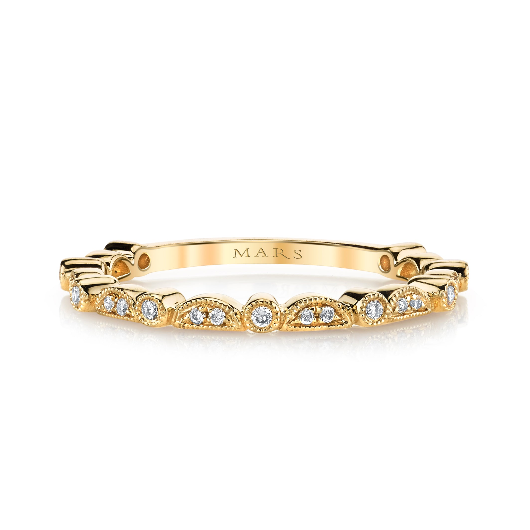 Mars Jewelry 14K Yellow Gold Stackable Band w/ Bezel Set Diamonds 26605