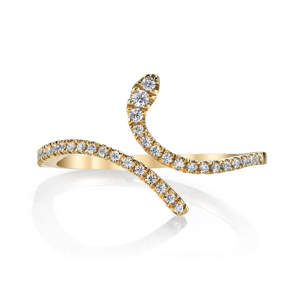Mars Jewelry 14K Yellow Gold Fashion Band w/ Curving Diamond Accents 26610