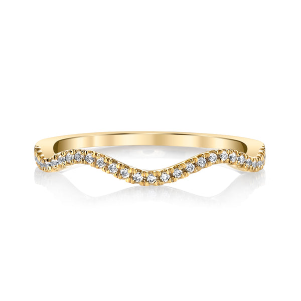 Mars Jewelry 14K Yellow Gold Fashion Band w/ Curving Diamond Accents 26616