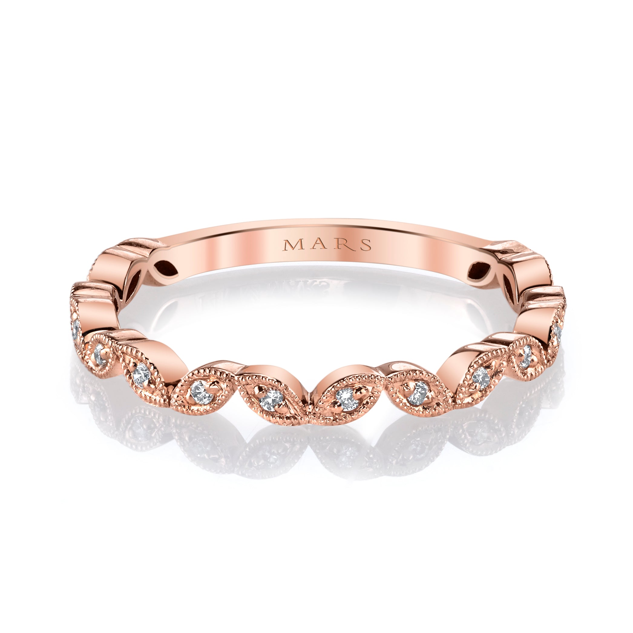 Mars Jewelry 14K Rose Gold Stackable Band w/ Miligrain Detailing 26692