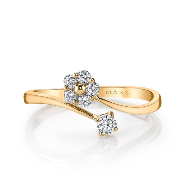 Mars Jewelry 14K Yellow Gold Fashion Ring w/ Dainty, Cluster Diamonds & Floral Motif 26772