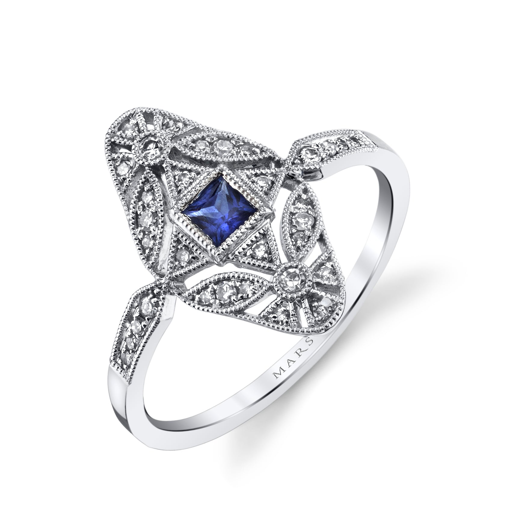 Mars Jewelry 14K White Gold Fashion Ring W/ Sapphire Accent Stones, Filigree & Milgrain Detailing 26876