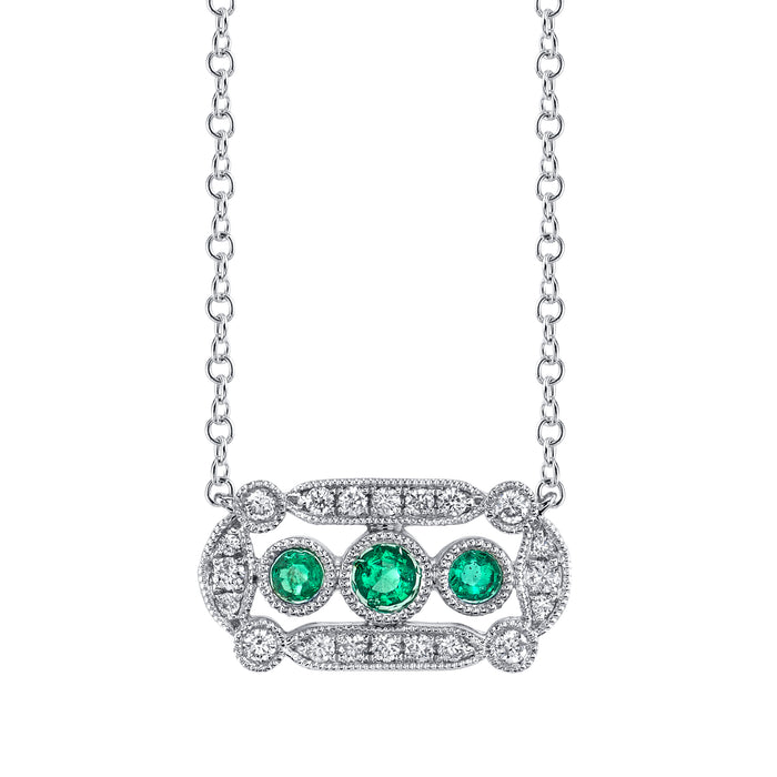 Mars Jewelry 14k White Gold Necklace W Emerald Stones Filigree