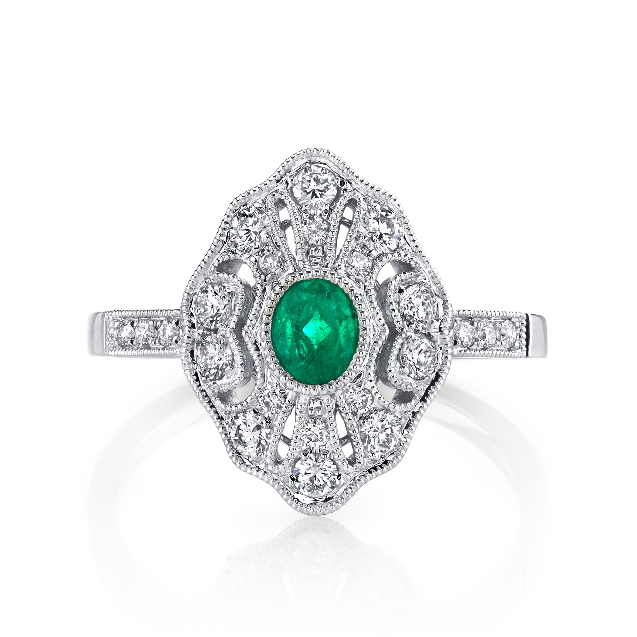 Mars Jewelry 14K White Gold Fashion Ring W/ Emerald Accent Stones, Filigree & Milgrain Detailing 26881