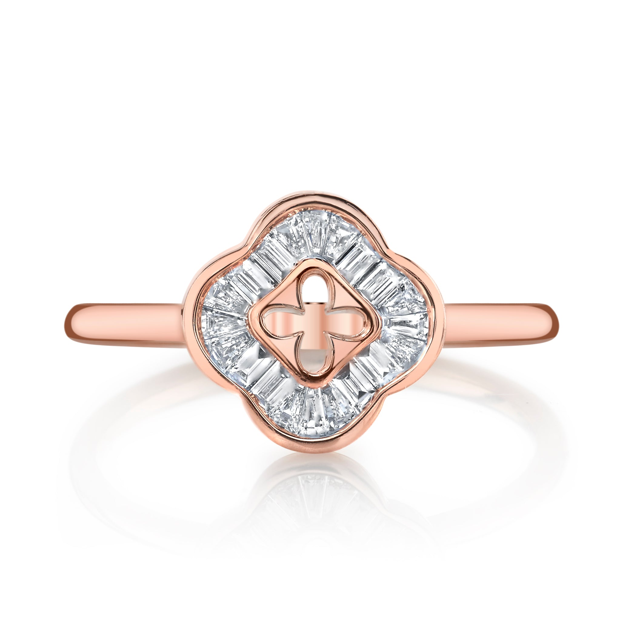 Mars Jewelry 14K Rose Gold Fashion Ring w/ Diamond Baguette Accents 26893