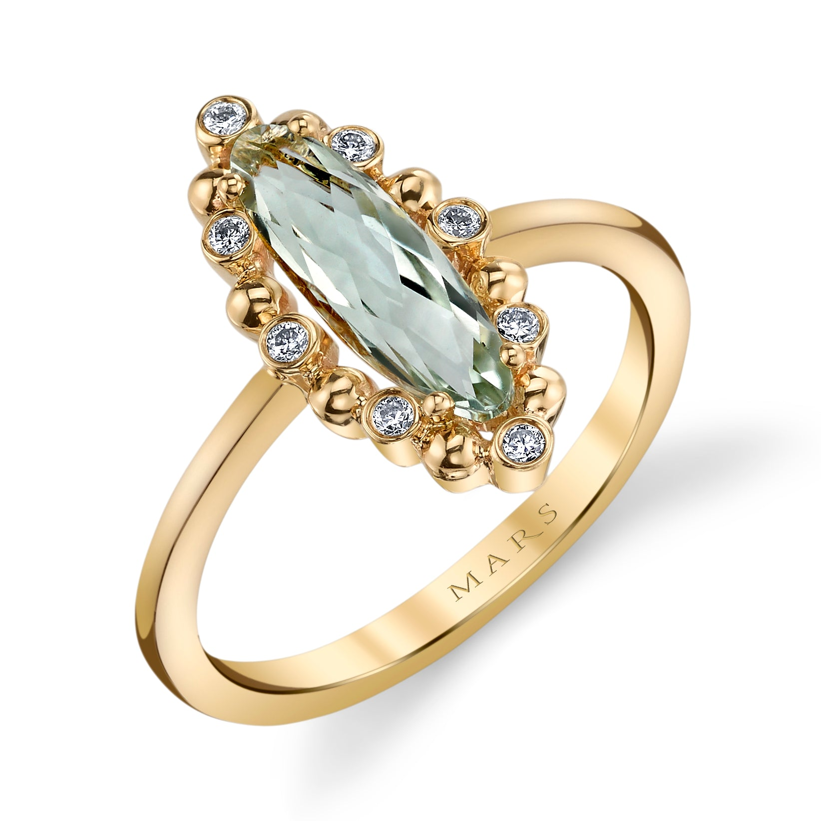 Mars Jewelry 14K Yellow Gold Fashion Ring w/ Diamonds & Mint Green Amethyst 26926